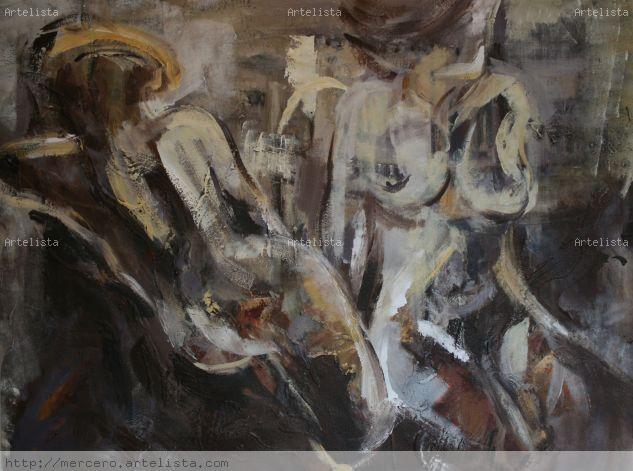 Interiores- 2 Lienzo Media Mixta Desnudos