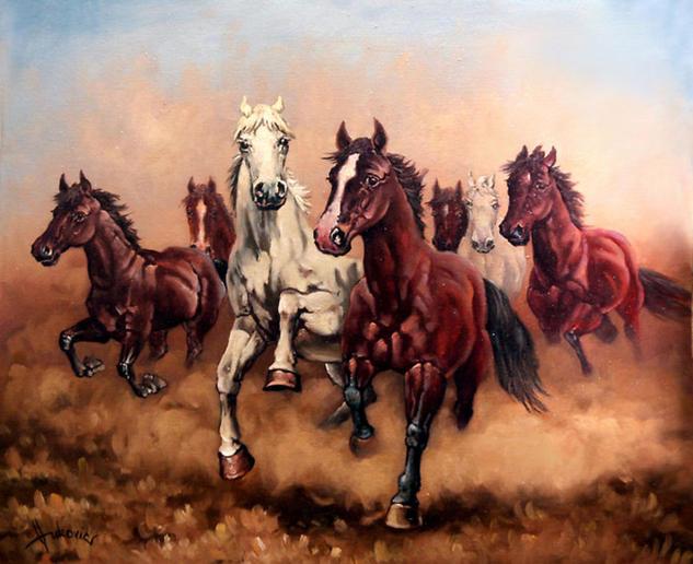 Hurry up my horses Lienzo Óleo Animales