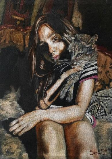 Abril con pantera al hombro  Portrait Oil Textile