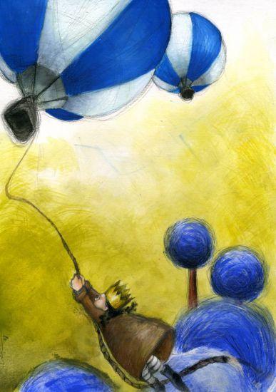 subiendo al globo... Técnica Mixta