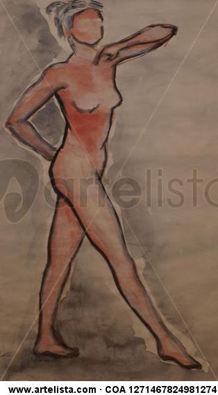 Desnudo femenino I Papel Acrílico Desnudos