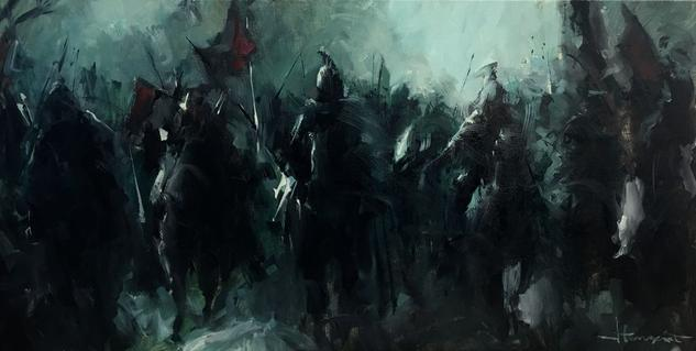 Guerreros oscuros Canvas Oil Figure Painting