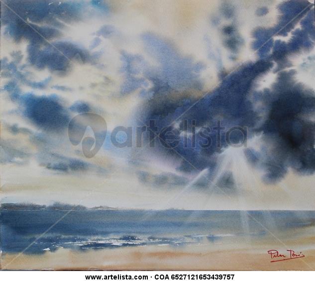 Cielo y mar Papel Acuarela Marina