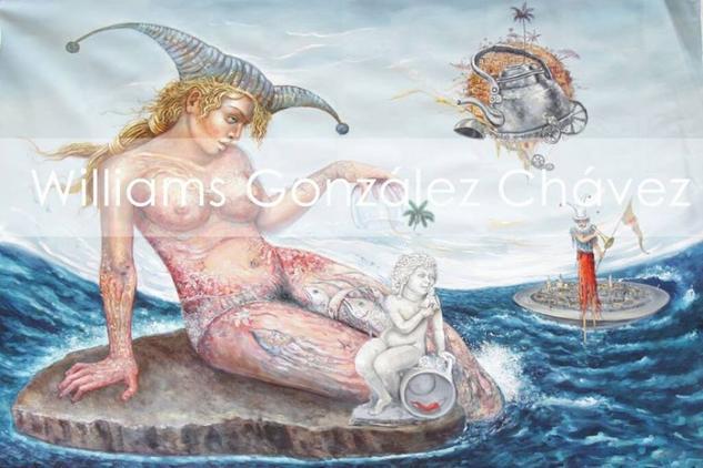 Broma sobre el mar. Lienzo Óleo Retrato