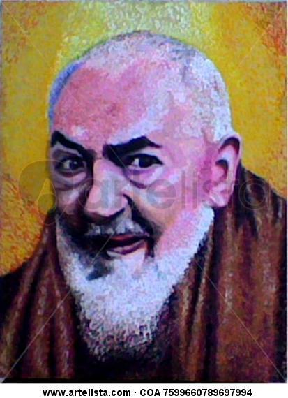 Padre Pio Tabla Pastel Retrato