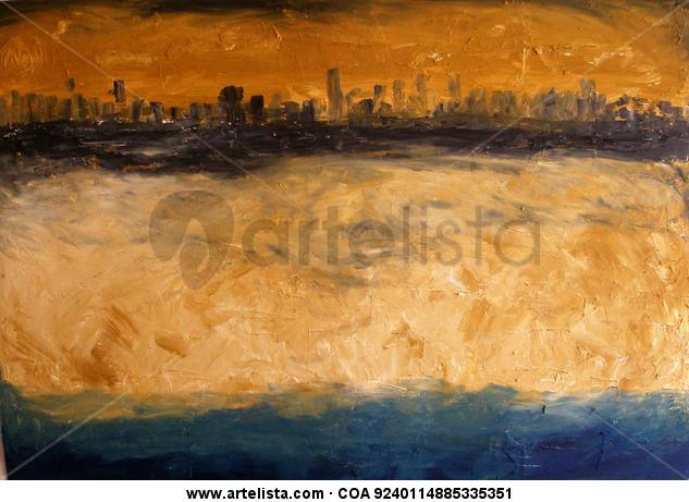 Abstracto de ciudad con playa RESERVADO Lienzo Óleo Paisaje