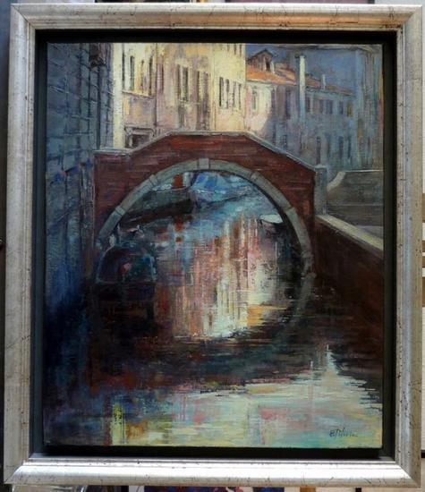 Reflejos bajo el puente Paisaje Óleo Lienzo