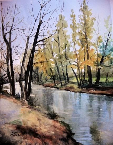 Arboles junto al rio Papel Acuarela Paisaje