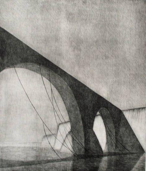 Desde un puente asi quisiera entregar mi alma Aguafuerte