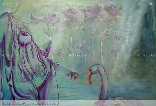 mujer en el lago II Óleo Lienzo Figura