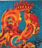 el gallo enano Óleo Cartulina Animales