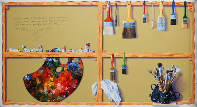 Whose paint and brushes?  Still Life Paintings Oil Canvas