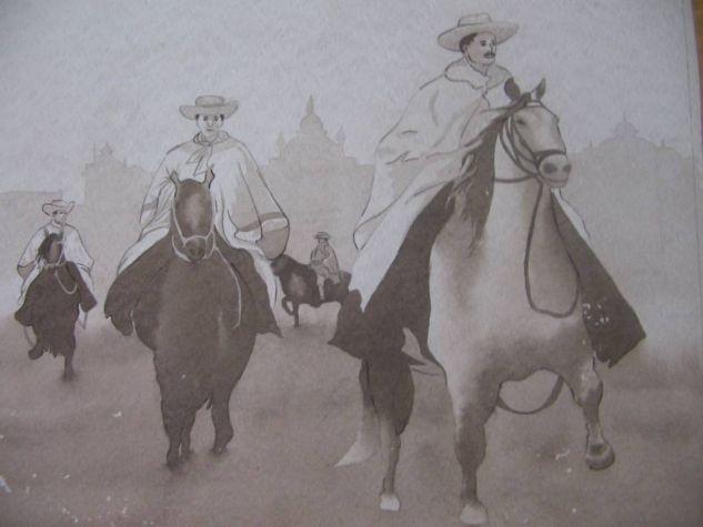 Caballos de Paso Peruanos Acuarela Cartulina Paisaje