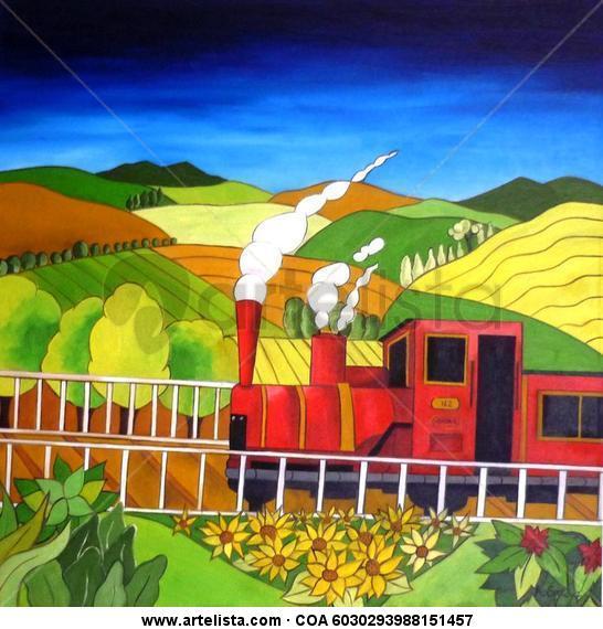 la locomotora Lienzo Óleo Paisaje