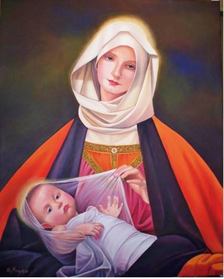 La virgen y el niño, homenaje a Marianne Stock Portrait Canvas Oil