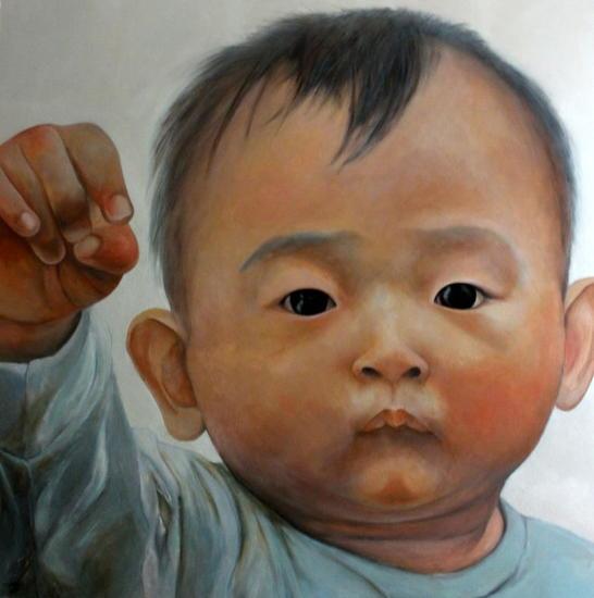 Taiwanese baby Tabla Óleo Retrato