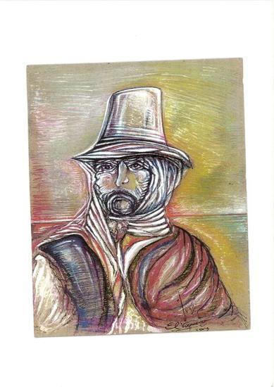 Gaucho Criollo 2 Retrato Gouache Papel