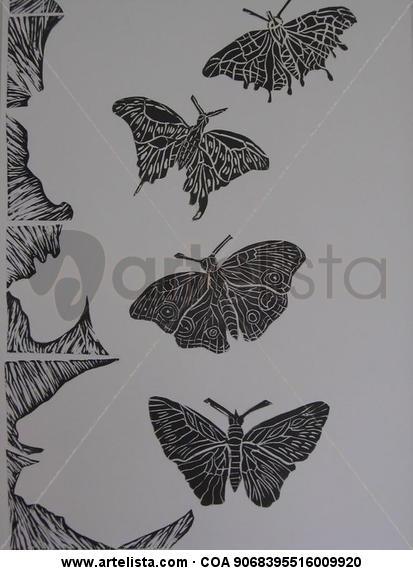 Serie de Mariposas, Vuelos y Tramas Linograbado