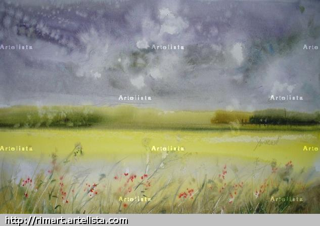 after rain Paisaje Acuarela Papel