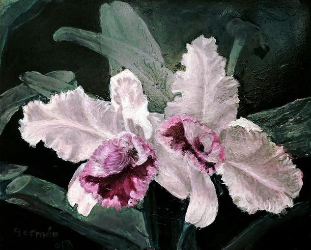 orquídea Floral Óleo Tabla