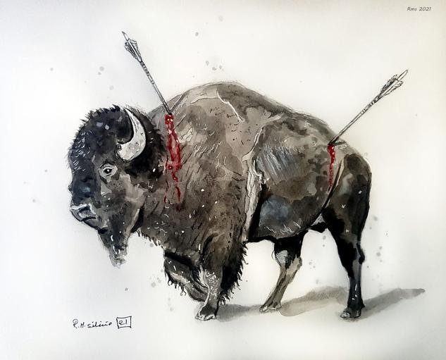 bisonte herido Animales Acuarela Papel