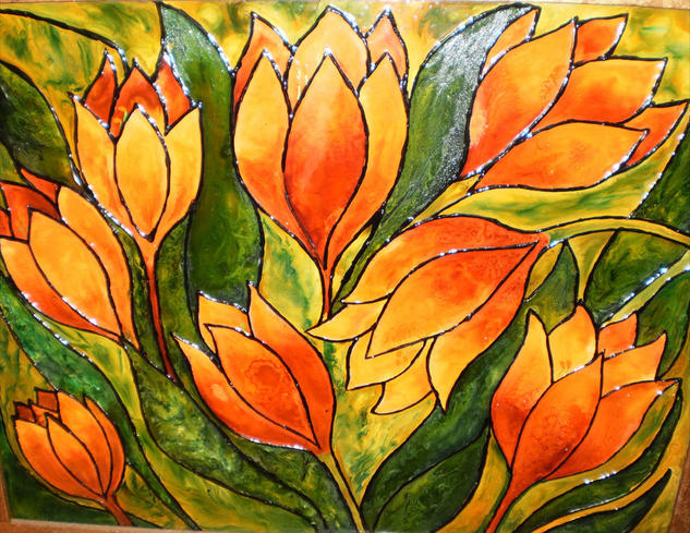 Orange tulips Cristal De vidriera Floral