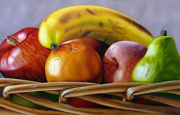 Frutas en cesta tejida Óleo Lienzo Bodegones
