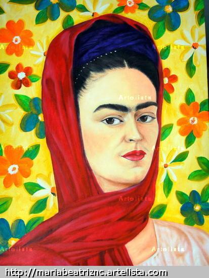 Frida con Flores Óleo Lienzo Otros