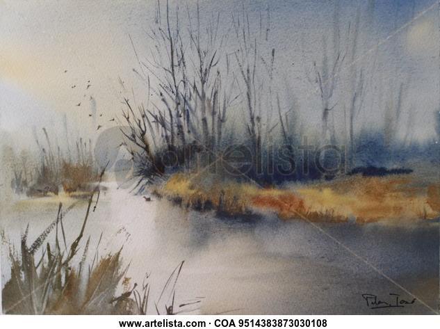 Ribera gris Paisaje Acuarela Papel