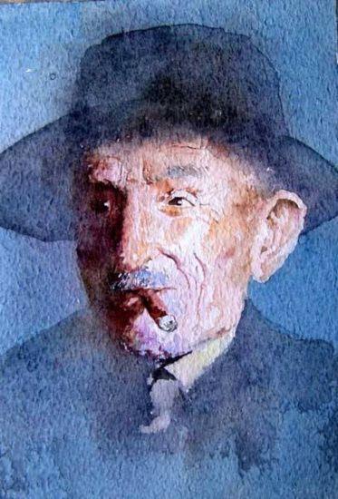viejo Acuarela Cartulina Retrato
