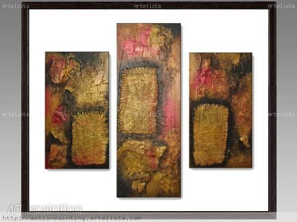 Triptico abstracto vanesa gazze for Imagenes de cuadros abstractos con texturas