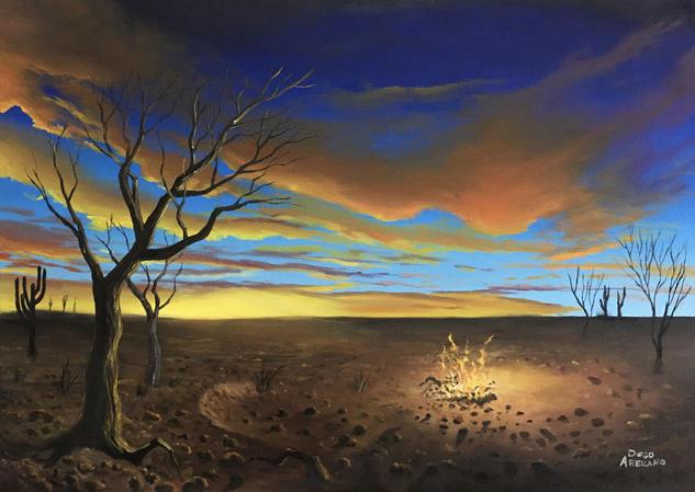 atardecer en el desierto Paisaje Óleo Lienzo