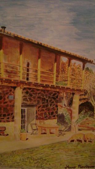 casa no campo Acuarela Paisaje Cartulina
