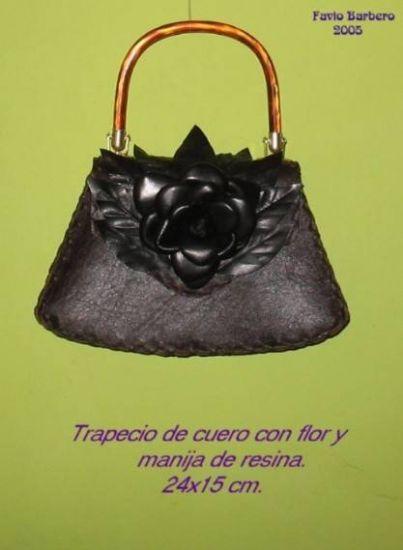Cartera de cuero con Flor Cuero - Piel Piel y Cuero