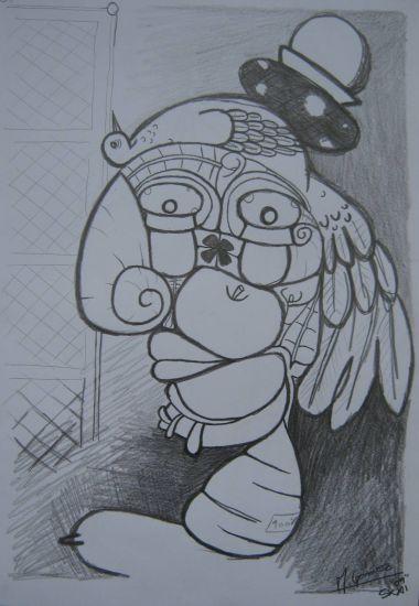 mujer con un hongo de sombrero