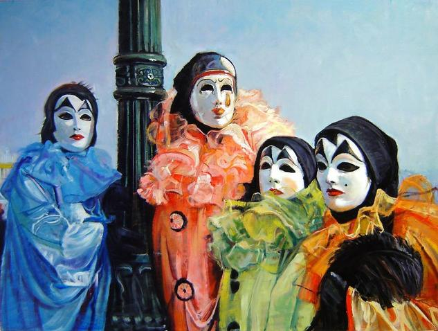 Los Payasos (Carnaval Veneciano) Panel Oil Figure Painting
