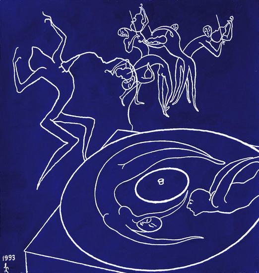 Enamorados de musica Papel Gouache Figura