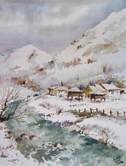 Nieve en Almurfe Papel Acuarela Paisaje