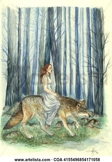 Alma de lobo Animales Acuarela Papel