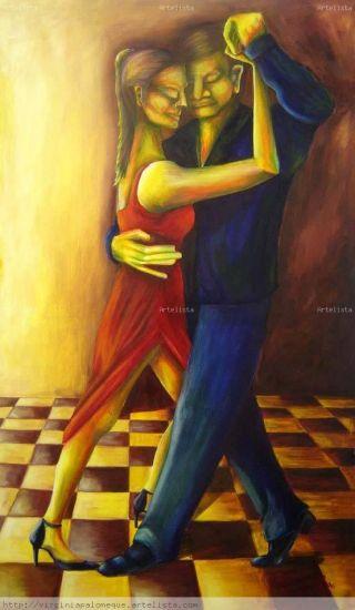 Tango Óleo Lienzo Figura