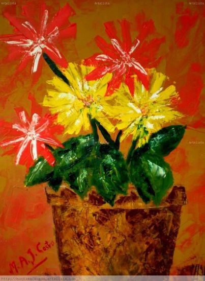 La maceta Lienzo Óleo Floral