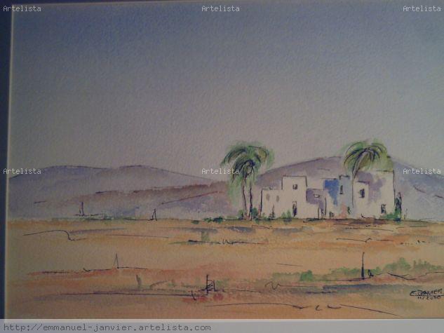 paisaje andalou 03 Acuarela Lienzo Paisaje