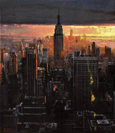 NYC NIGHT Paisaje Óleo Lienzo
