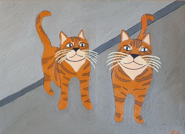 Los gatos de Elena Animales Óleo Lienzo