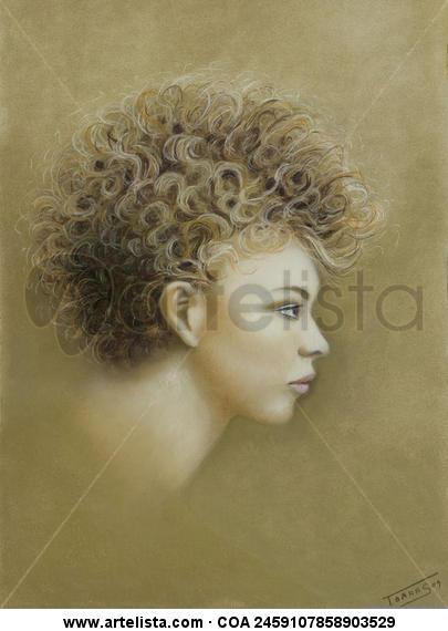 Perfil amb cabell ros Cartulina Pastel Retrato