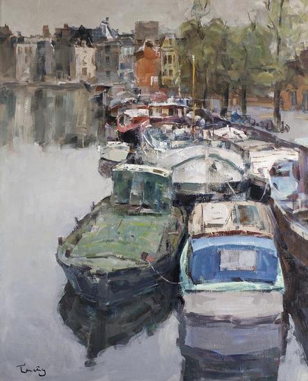 Amsterdam Tela Óleo Marina
