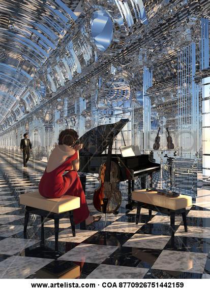 sonata de vidrio con dama Lienzo Tinta Figura