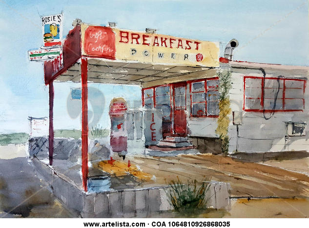 Breakfast in America Papel Acuarela Paisaje