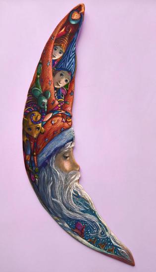 PAPÁ NOEL MOOMERANG - ( Listo para colgar ) Madera Figurativa