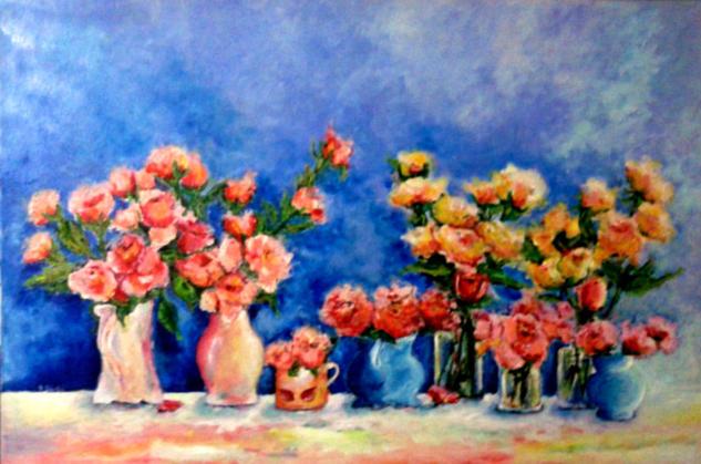 Rosas Floral Media Mixta Lienzo